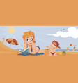 boy with mom on beach funny people vector image vector image