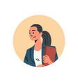 brunette businesswoman avatar woman face profile vector image