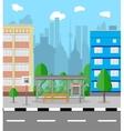Bus stop in city road trees trash bin clouds vector image vector image