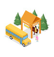 bus stop isometric 3d icon vector image vector image