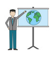 businessman with paperboard training isolated icon vector image