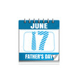 conceptual calendar for fathers day 2018 vector image
