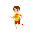 cute boy running kids activity daily routine vector image