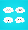 cute kawaii couple smiling cloud vector image