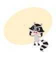 cute little raccoon character unpleasantly vector image vector image