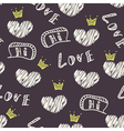 Dark doodle love seamless pattern vector image vector image