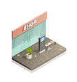 dirty storefront isometric composition vector image vector image