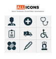 drug icons set with brougham medic data and vector image vector image