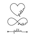 father - word with infinity symbol hand drawn vector image vector image