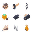 forging house icons set isometric style vector image vector image