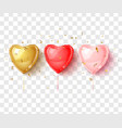 gold red and pink hearts balloon holiday design vector image vector image