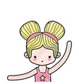 grated girl practice ballet with two buns hair vector image
