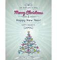 grey background with forest of christmas tree vector image vector image