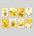 hand drawn honey posters natural honey packaging vector image vector image