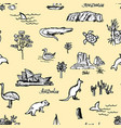 hand drawn pattern with australian animals and vector image