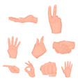 hand gestures set icons in cartoon style big vector image vector image