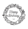 happy birthday inscription greeting card vector image