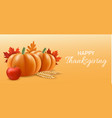 happy thanksgiving concept banner realistic style vector image vector image