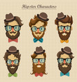 hipster characters with retro hairstyle vector image