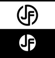initial letter jf logo template with circle icon vector image vector image