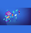 isometric online shopping and wi-fi vector image vector image