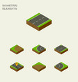 isometric road set of upwards way asphalt and vector image vector image