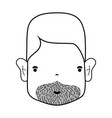 line man face with hairstyle and beard vector image vector image