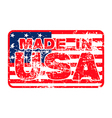 MADE IN USA Rubber Stamp on the flag vector image