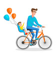 man cycling with his boy kid sitting on bike safe vector image vector image