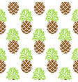 pineapple green and brown seamless pattern vector image