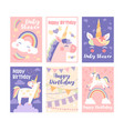 pretty muted birthday cards with unicorns vector image