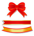 red bow with golden border on white background vector image