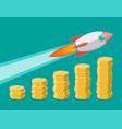 rocket flying up on coins growth chart vector image