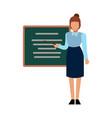 school teacher woman presenting or explaining vector image vector image