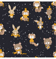 seamless pattern with cute bunny foxes and bear vector image vector image