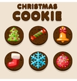 Set Cartoon Christmas Chocolate biskvit cookies vector image vector image