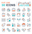 set line icons fast food vector image