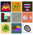 set of flat icons on stylish background economic vector image vector image