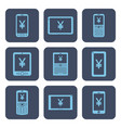 set of icons - mobile devices with yen or yuan vector image vector image