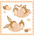 small sleeping children in costumes bunny and cat vector image vector image