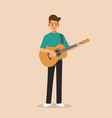 standing man holding and playing acoustic guitar vector image vector image