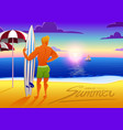 surfer on ocean beach at sunset with surfboard vector image vector image