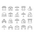 tent simple black line icons set vector image
