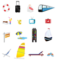travel icon set one with train and boat vector image vector image