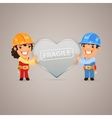 Valentines Day Poster with Couple Workers vector image vector image