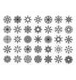 various black star shapes and snowflakes on white vector image