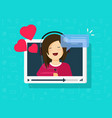 video call of happy lovely girl vector image vector image