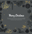vintage handdrawn christmas card vector image