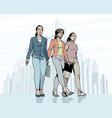 women walking down the street vector image