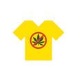 yellow t-shirt no drugs allowed marijuana leaf vector image vector image